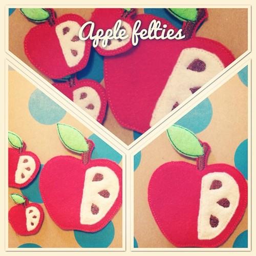 Broches de fieltro de una manzana abierta