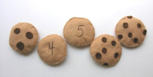 Galletas con número hechas con fieltro