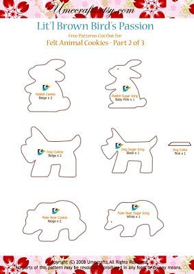 Descargar gratis patrones de fieltro con forma de animales 2