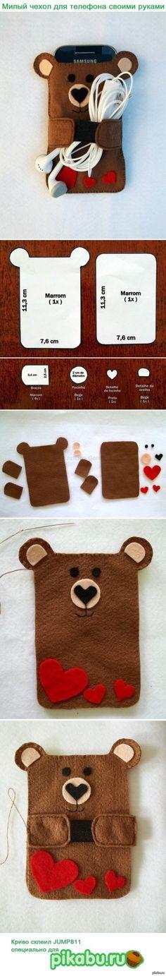 Tutorial funda móvil fieltro con forma de oso para móvil y auriculares
