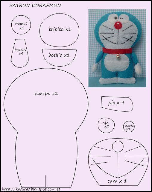Descargar gratis molde muñeco Doraemon en fieltro