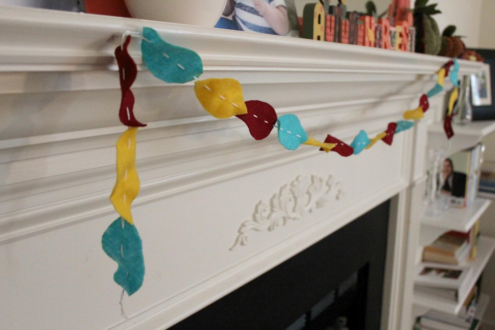 Guirnalda de hojas secas hechas en fieltro decoraci n de - Decoracion hecha en casa ...
