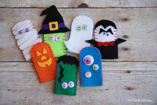 Marionetas de dedo en fieltro para Halloween