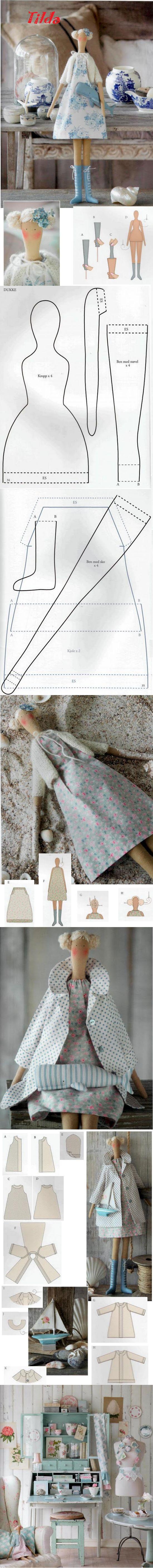 Patrón gratis muñeca fieltro estilo Tilda