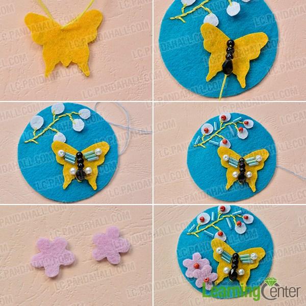 Tutorial broche fieltro forma mariposa decorado 2