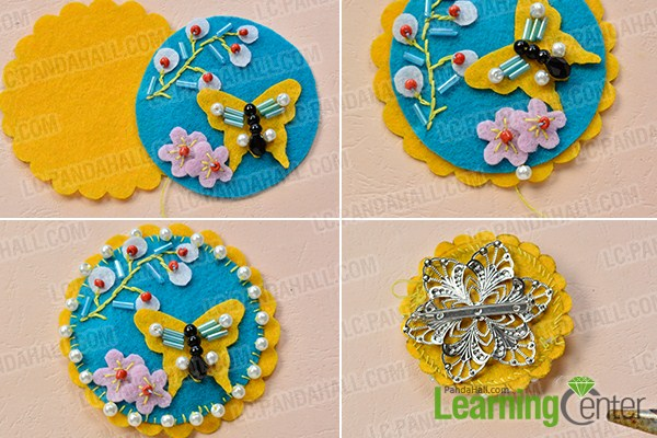 Tutorial broche fieltro forma mariposa decorado