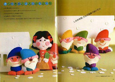 Molde de fieltro gratis para hacer muñecos de Blancanieves y enanitos