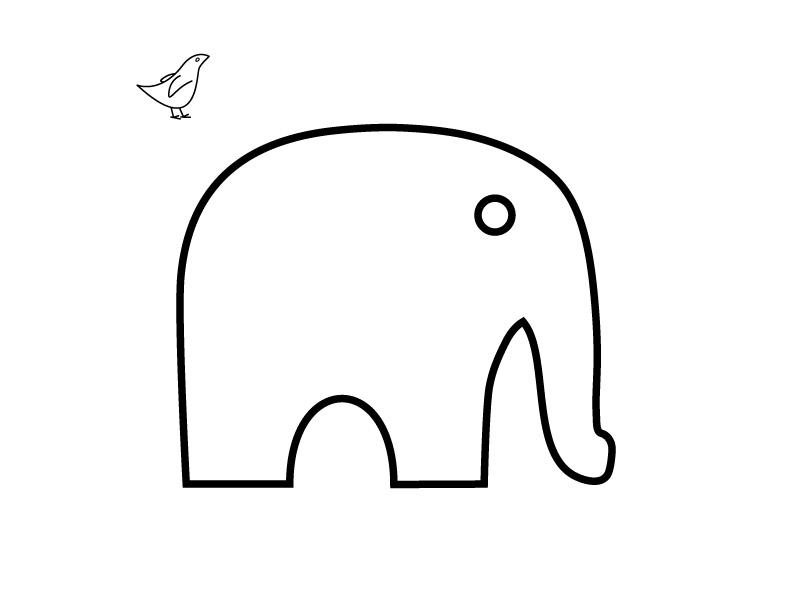 Molde elefante manualidad fieltro