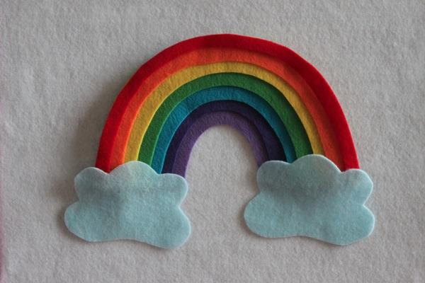 Tutorial arcoíris y nube fieltro para niños