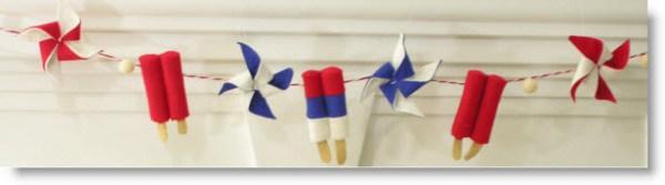 Guirlanda fieltro con polos y molinillos para decorar una fiesta
