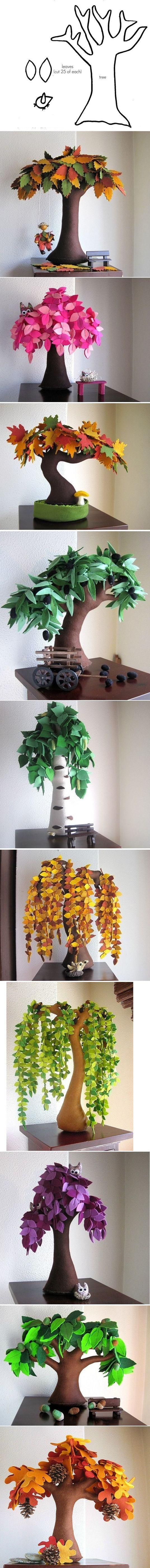 Plantilla e ideas para hacer árboles de fieltro
