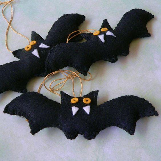 Murciélagos de fieltro DIY para decorar Halloween 4
