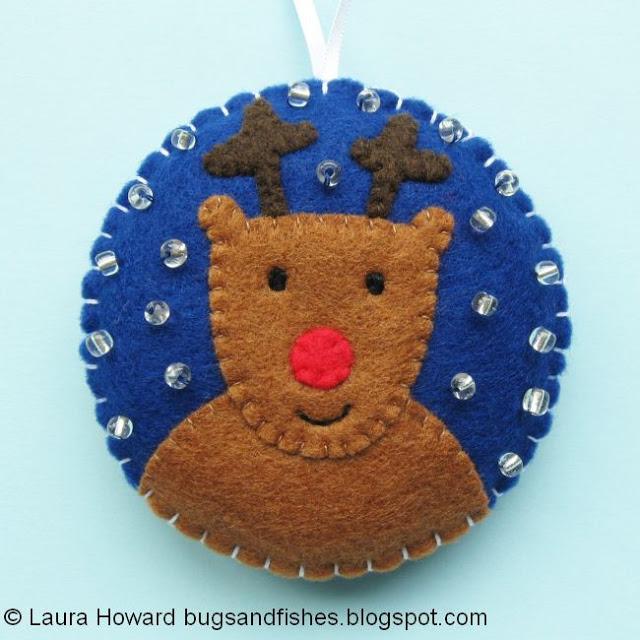 Decoración de fieltro para árbol de Navidad, reno Rudolf