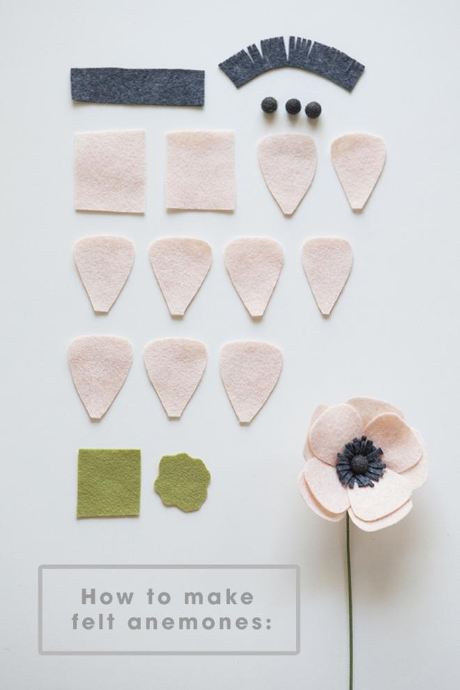 Tutorial DIY flor anémona fieltro, paso a paso 6