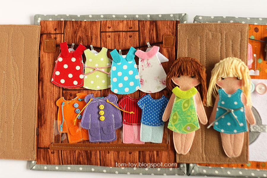 Libro o casa muñecas de fieltro, armario