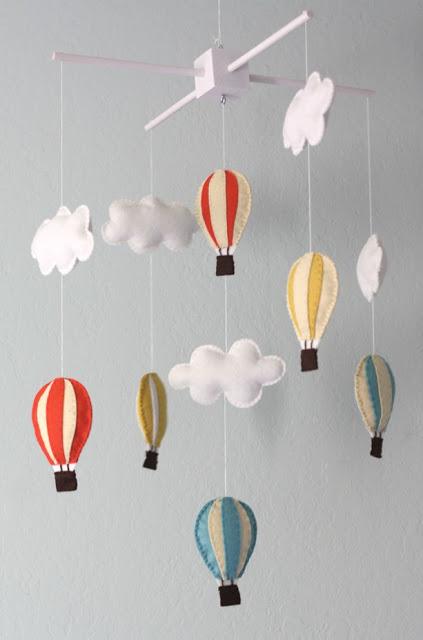 Tutorial móvil de fieltro con globos aerostáticos