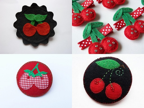 Broches de fieltro de cerezas