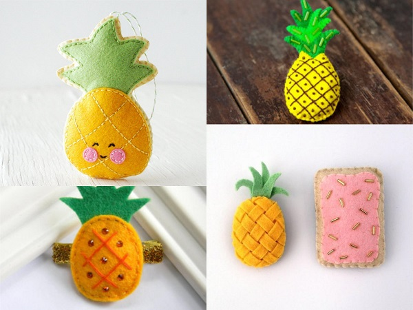 Broches de fieltro de piña