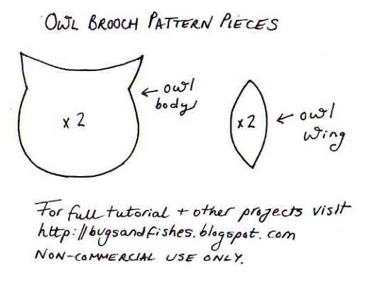 Patrón para hacer un broche de fieltro en forma de búho