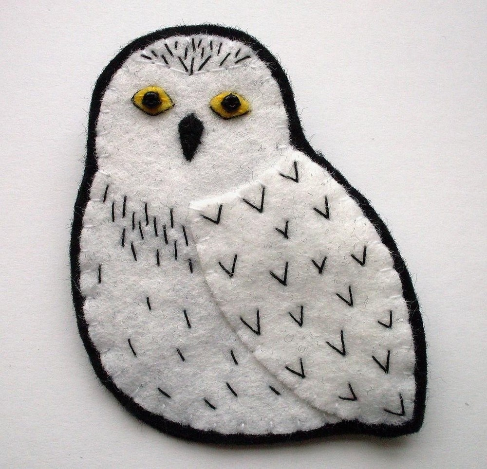 Broche de fieltro, Búho Blanco