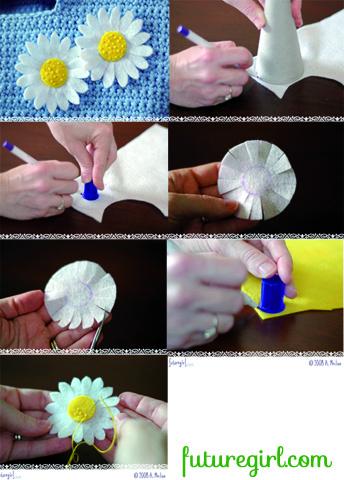 Fotos para hacer un broche o clip para el pelo con forma de margarita