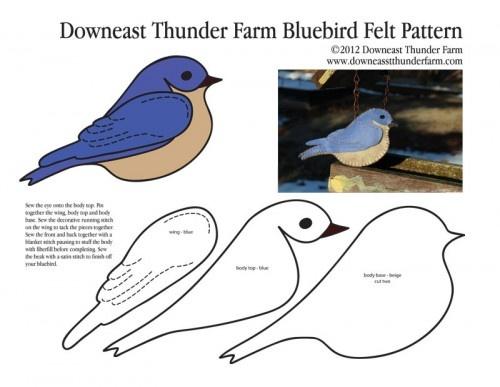 Plantilla para hacer un broche de fieltro de pájaro azul