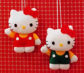 Plantilla para broche de fielto de Hello Kitty