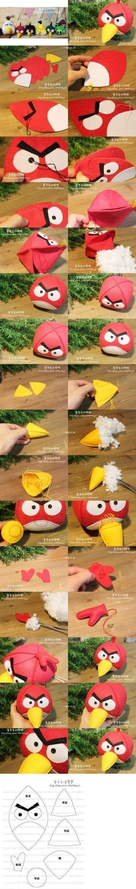 Angry Birds de fieltro, paso a paso con molde
