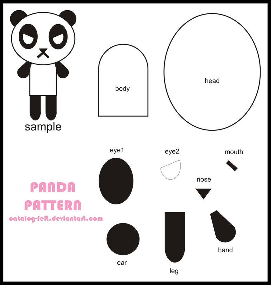 Plantilla para Angry Panda, un oso panda de fieltro