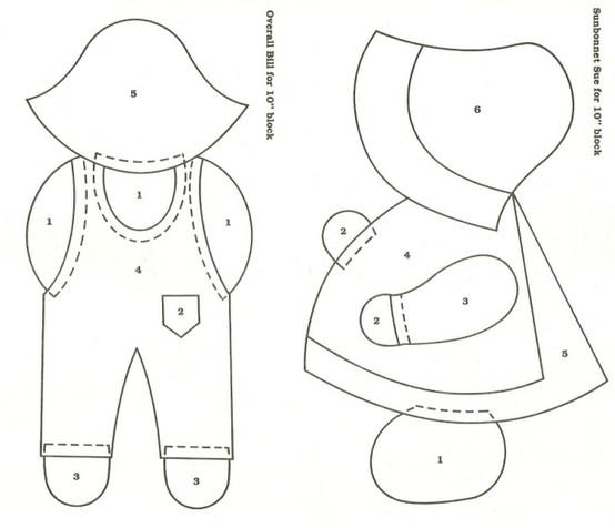 Plantilla para hacer muñeco y muñeca fieltro