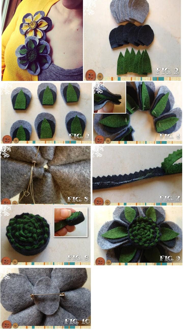 Fotos paso a paso para hacer un broche de fieltro en forma de flor