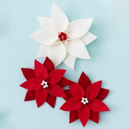 Flores de fieltro para Navidad