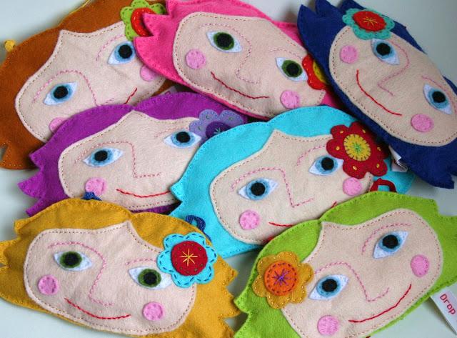 Caras de mujer para hacer broches de fieltro