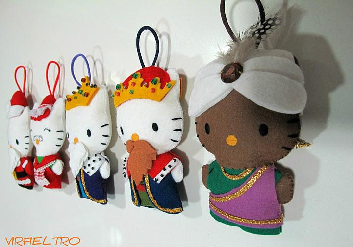 Hello Kitty de fieltro vestidas de Reyes Magos