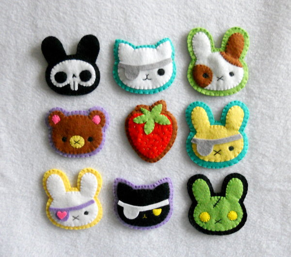 9 ideas para hacer broches de fieltro con animales kawaii
