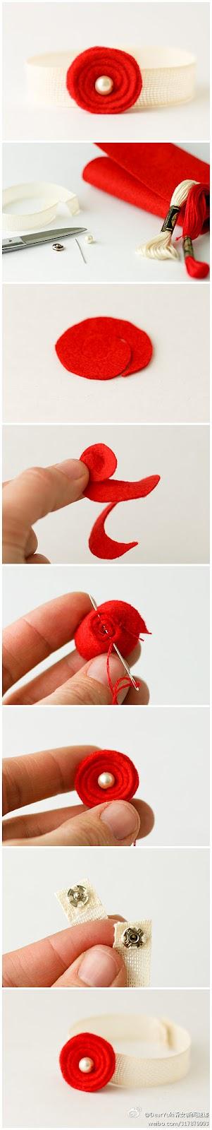Tutorial paso a paso para hacer una rosa de fieltro fácil