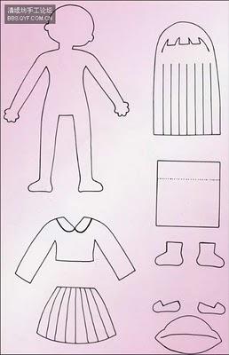Muñeca de fieltro con el uniforme del colegio, estilo japonés con patrón