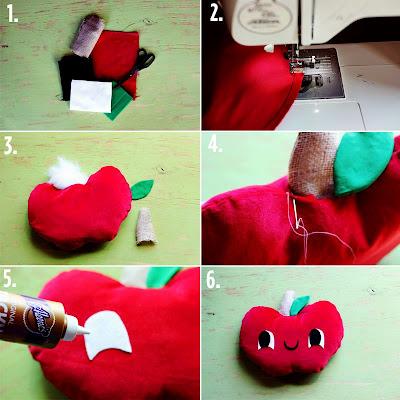 Tutorial paso a paso para hacer una manzana de fieltro o tela broches de fieltro - Manualidades de fieltro paso a paso ...