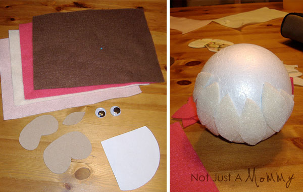 Tutorial paso a paso para hacer un búho con bola de porexpan y fieltro