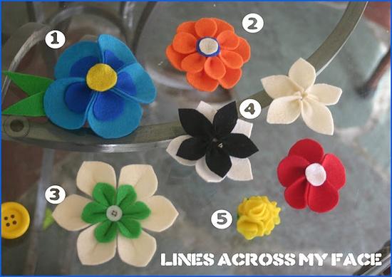 Cinco Modelos De Clips Para El Pelo Con Flores De Fieltro