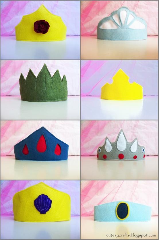 Coronas de Princesas Disney en Fieltro
