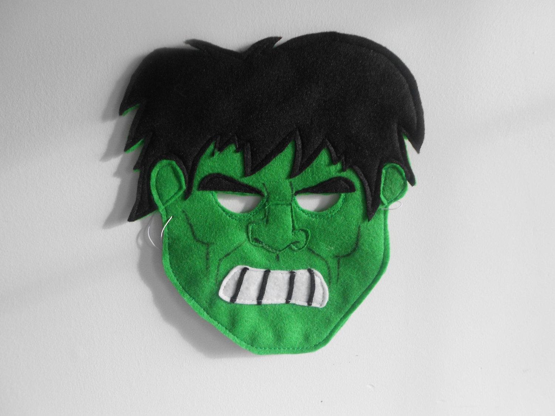 Mscara de Hulk hecha con fieltro  Broches de Fieltro