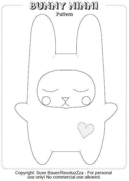 Bunny Ninni, conejo de tela o fieltro con patrón para descargar