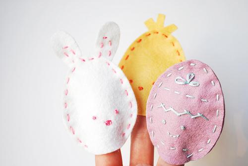 Marioneta de dedo de fieltro, huecos de Pascua