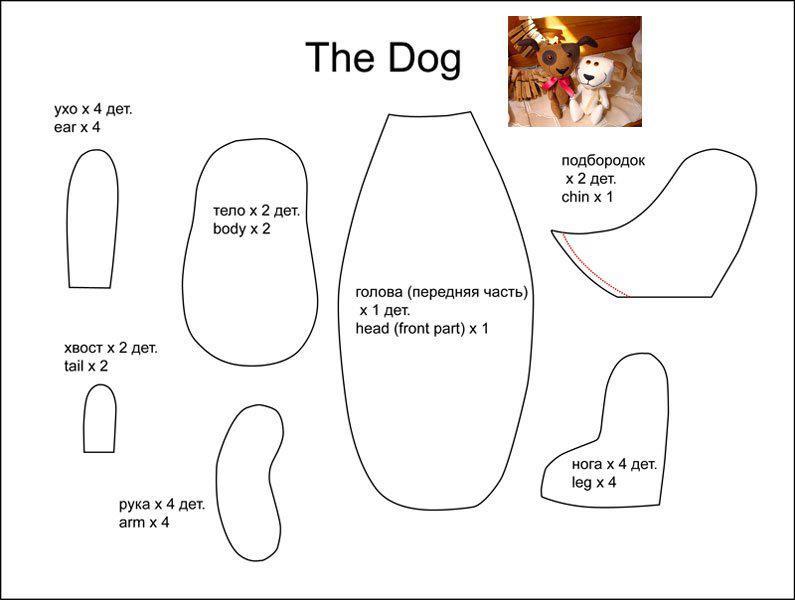 Patrón para hacer una manualidad con forma de perro perro de fieltro o tela