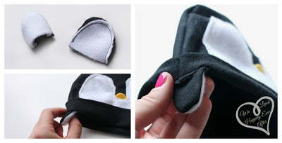 Gorro de fieltro para bebés con forma de pingüino, paso a paso 7