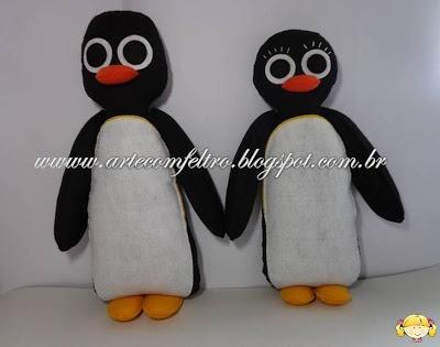 Pingüinos de la serie Pingu de fieltro