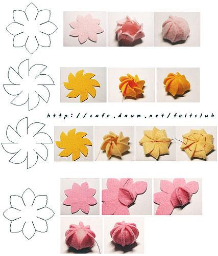 Tres flores de fieltro paso a paso con plantilla broches - Como hacer figuras de fieltro paso a paso ...