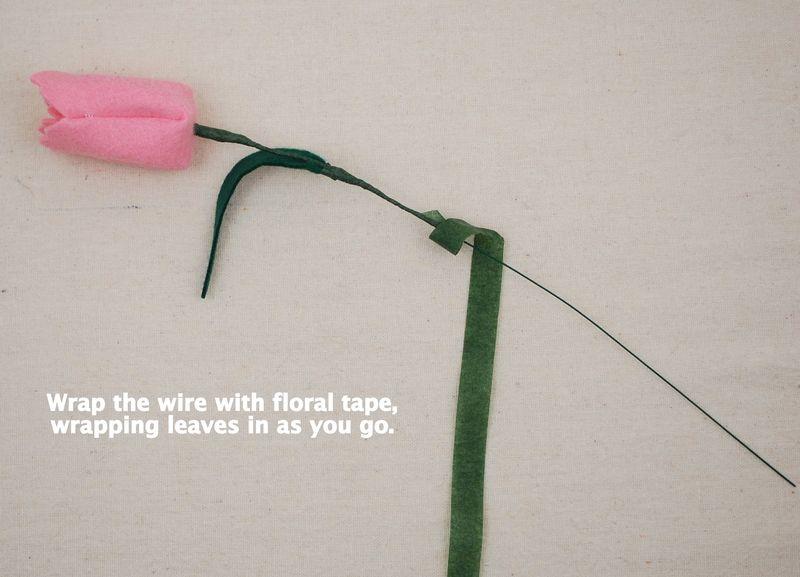 Ramo de tulipanes de fieltro, paso a paso