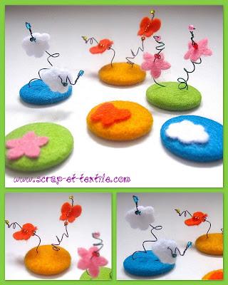 Chapas forradas con fieltro, nubes, mariposas y flores
